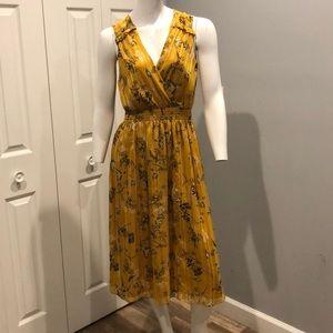 NWOT mustard yellow floral midi dress